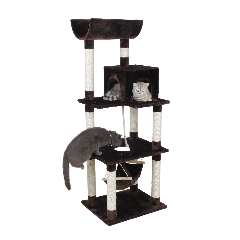 International 63 Inch Condo Tower Playset Cat Tree (Dark ...
