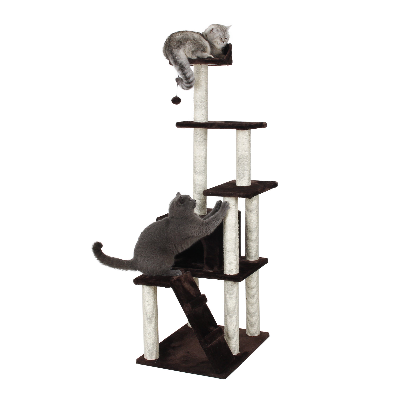 International 62 Inch Condo Playset Cat Tree (Dark Mocha ...