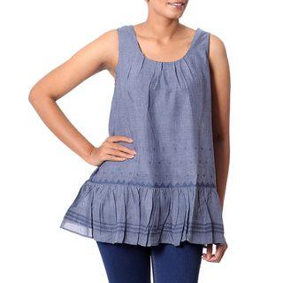 Handmade Polyester Blend 'Cadet Blue Charm' Sleeveless Blouse (India)