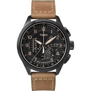 Timex Men's T2P277 Black/Tan Leather Strap Intelligent Quartz Linear Chronograph Watch