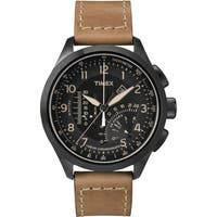 Timex Men's T2P277 Black/Tan Leather Strap Intelligent Quartz Linear Chronograph Watch