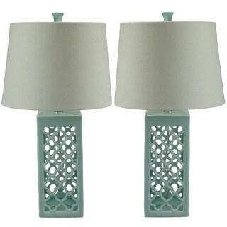 Kalia Spring Green Glazed Ceramic Table Lamp (Set of 2)