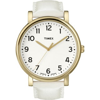 Timex Unisex T2P170 Originals Classic Round White and Goldtone Leather Strap Watch (Option: White)