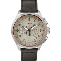 Timex Men's T2P275 Intelligent Quartz Linear Chronograph Cream/Brown Leather Strap Watch