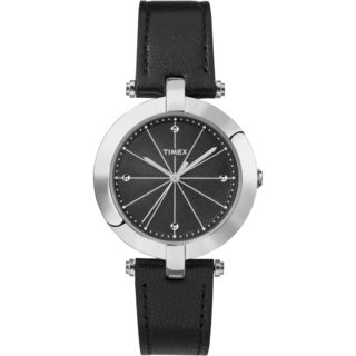 Timex Women's TW2P79300 Greenwich Black and Silvertone Leather Strap Watch (Option: Black)