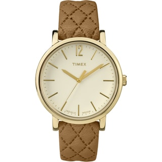 Timex Women's TW2P78400 Originals Matelasse Tan/Goldtone/Cream Leather Strap Watch