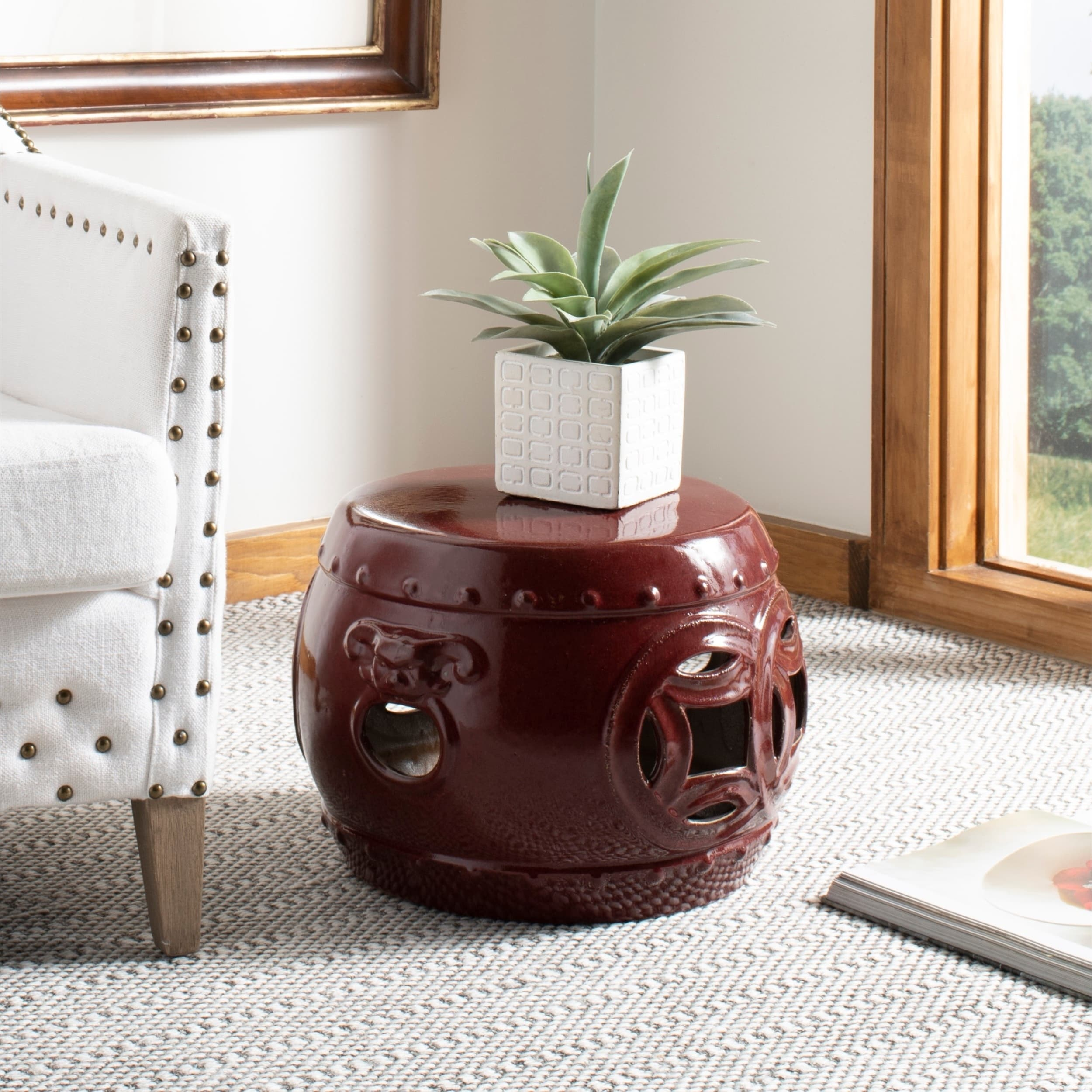 Safavieh Mei Double Coin Red Garden Stool (ACS4534G), Out...
