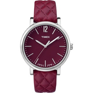 Timex Women's TW2P71200 Originals Matelasse Red and Silvertone Leather Strap Watch