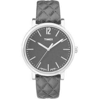 Timex Women's TW2P71100 Originals Matelasse Black/Silvertone Leather Strap Watch