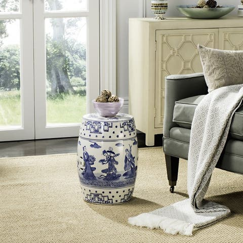 Safavieh Ocean Jewel Chinoiserie Blue Ceramic Decorative Garden Stool
