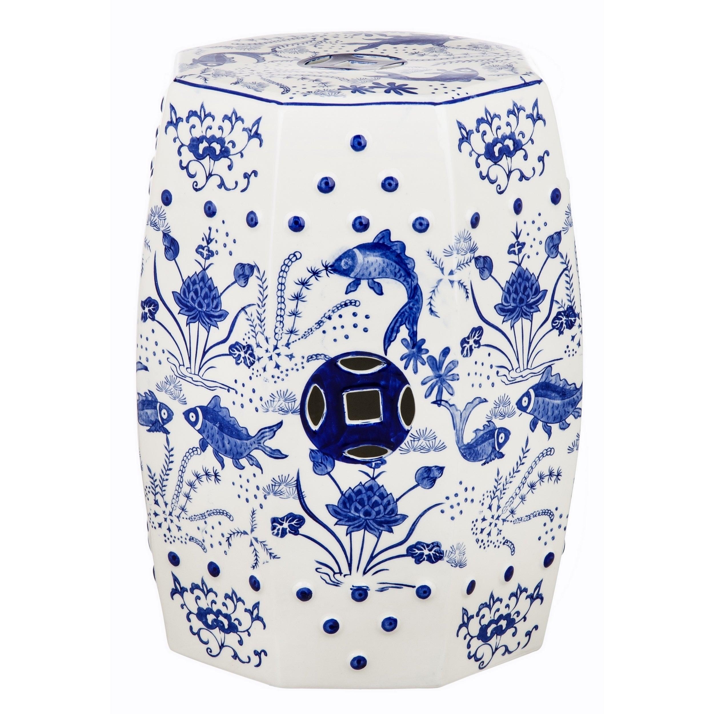Safavieh Cloud 9 Chinoiserie Blue Garden Stool (ACS4557A)...