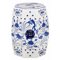 "Safavieh Cloud 9 Chinoiserie Blue Garden Stool - 13"" x 13"" x 18"""