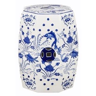 Safavieh Cloud 9 Chinoiserie Blue Koi Ceramic Decorative Garden Stool