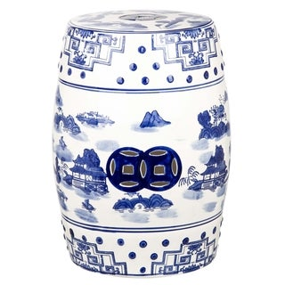 Safavieh Gateless Mist Chinoiserie Blue Garden Stool  sc 1 st  Overstock.com : blue and white chinese garden stool - islam-shia.org