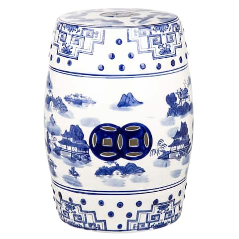 Safavieh Gateless Mist Chinoiserie Blue Ceramic Decorative Garden Stool