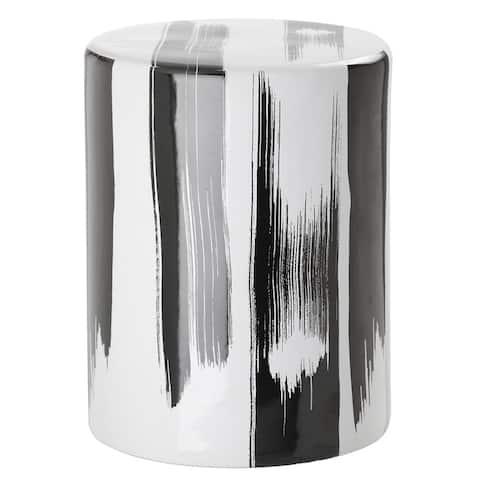 SAFAVIEH Talon Modern Abstract Black Ceramic Garden Stool