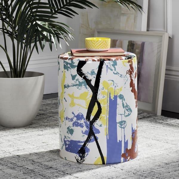 Cool Safavieh Kes Multicolor Multi Garden Stool 13 X 13 X 17 Cjindustries Chair Design For Home Cjindustriesco
