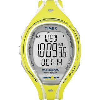 Timex Women's T5K789 Ironman Yellow Resin Strap Sleek 250 TapScreen Watch
