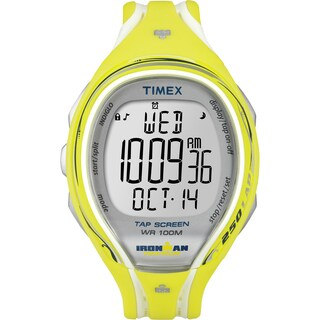 Timex Women's T5K789 Ironman Yellow Resin Strap Sleek 250 TapScreen Watch