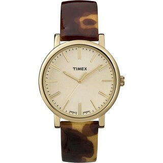 Timex Women's T2P237 Originals Classic Round Tortoise Pattern Leather Strap Watch - brown