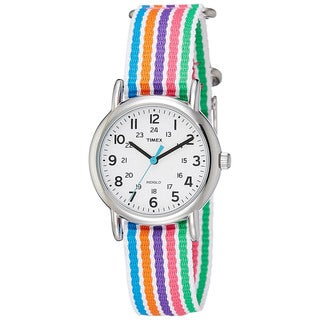 Timex Women's T2N938 Weekender Multicolored Stripe Nylon Slip-thru Strap Watch