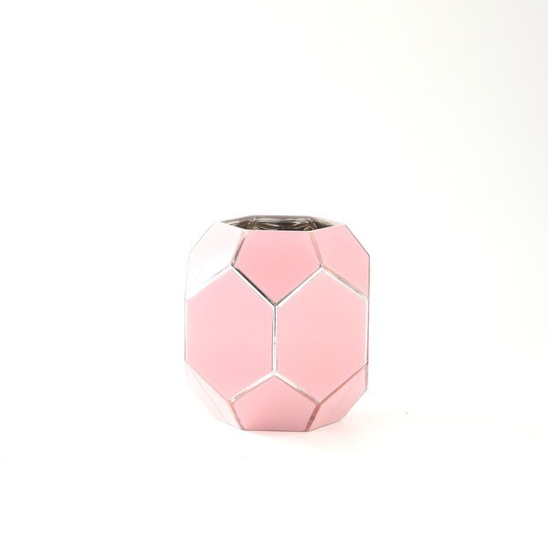 Rose Pink Glass Geometric Vase