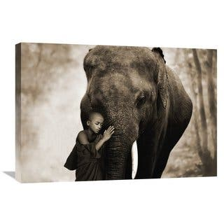 Global Gallery Moreau 'Healing Embrace' Stretched Canvas Artwork - Grey/white