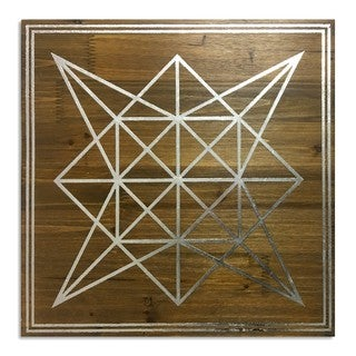 """Geometric Star"" Silver Foil Embellished Wood Plaque Art"