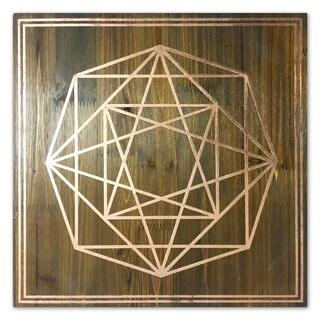 """Geometric Octagon"" Copper Foil Embellished Wood Plaque Art"