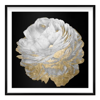 """Gold and Light Floral I"" Gold Foil Framed Art"