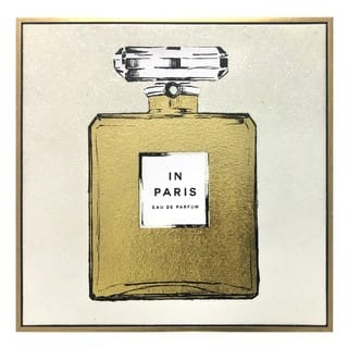 """Paris Perfume Gold and White"" Glitter Canvas in Gold Floater Frame