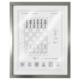 """Chess Game and Method 2000"" Silver Foil Framed Art