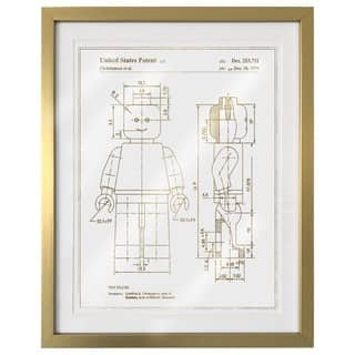"""Lego Toy Figure"" Gold Foil Framed Art
