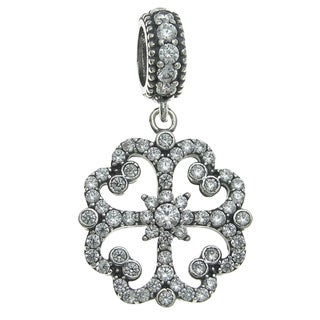 Queenberry Sterling Silver Cubic Zirconia Lucky 4 Heart-leaf Clover Dangle European Bead Charm