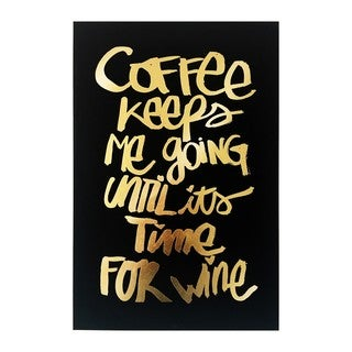"""Coffee and Wine Black"" Gold Foil Canvas Art"