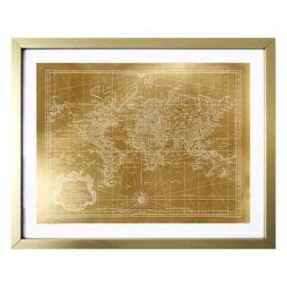 """""""World Map 1778 Gold"""" Gold Foil Framed Art"""