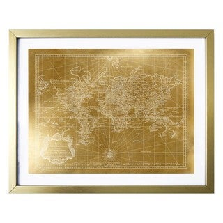 """World Map 1778 Gold"" Gold Foil Framed Art"