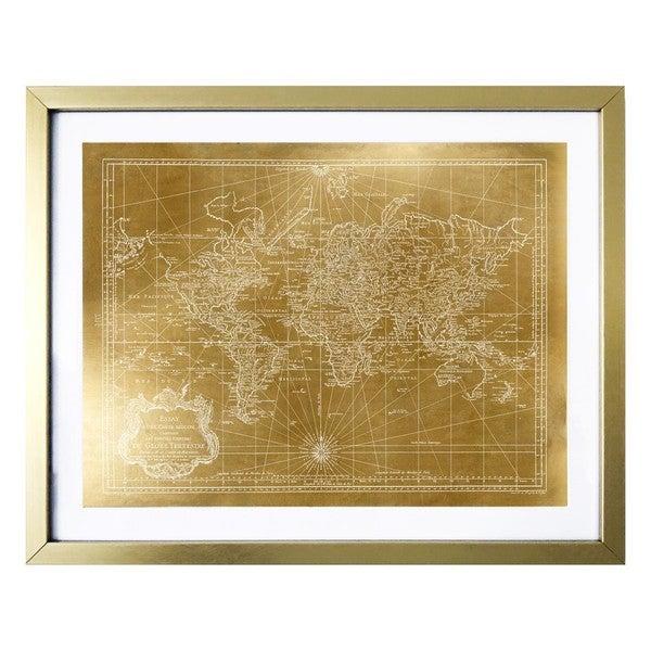 World map 1778 gold gold foil framed art free shipping today world map 1778 gold gold foil framed art gumiabroncs Choice Image