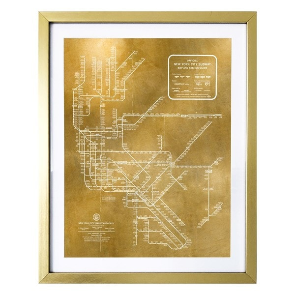 Framed New York Subway Map.Shop New York Subway Map 1958 Gold Gold Foil Framed Art Free