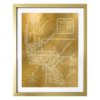 """New York Subway Map 1958 Gold"" Gold Foil Framed Art"