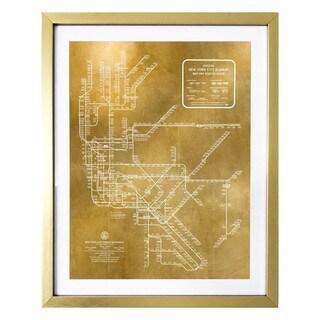 """New York Subway Map 1958 Gold"" Gold Foil Framed Art"