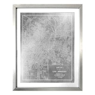 """Los Angeles Map 1899 Silver"" Silver Foil Framed Art"