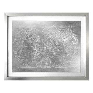 """Hemispheres Mapamundi"" Silver Foil Framed Art"