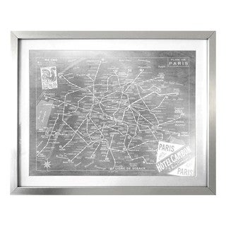 """Metro Map of Paris Silver"" Silver Foil Framed Art"