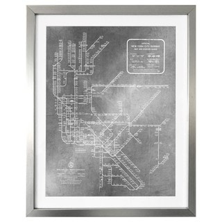 """New York Subway Map 1958 Silver"" Silver Foil Framed Art"