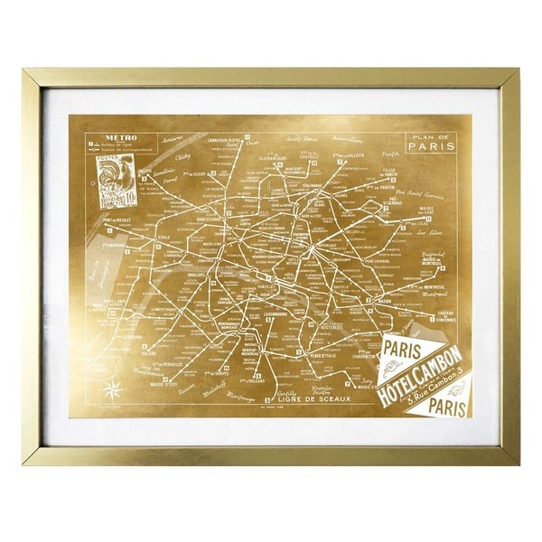 """Metro Map of Paris Gold"" Gold Foil Framed Art"