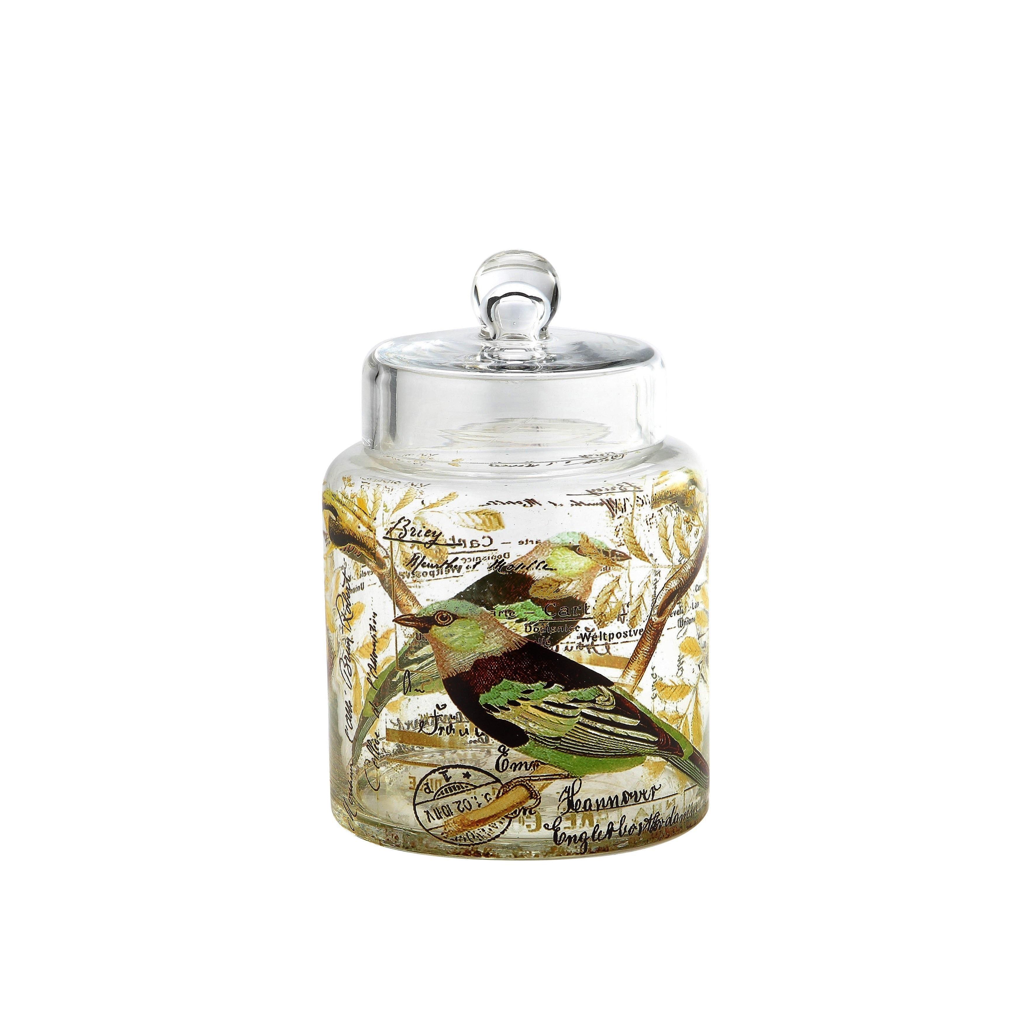 Diamond Bird Design Clear Glass Apothecary Jar (clear, bi...