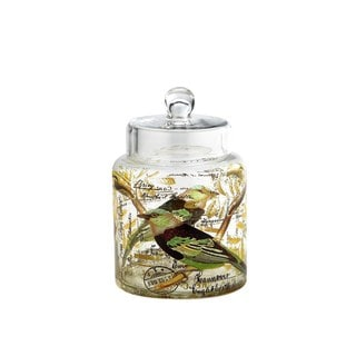Bird Design Clear Glass Apothecary Jar
