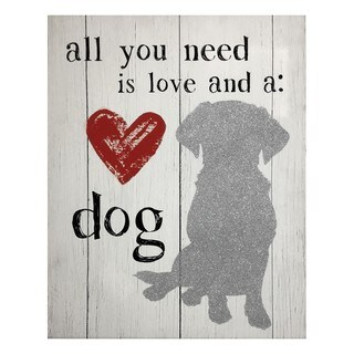 """Love and A Dog"" Silver Glitter Foil Pets and Animals Canvas Art"