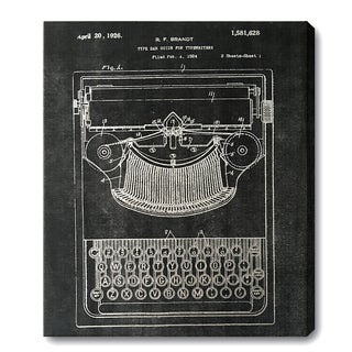 Wynwood Studio 'Typewriter' Silver Foil Canvas Art